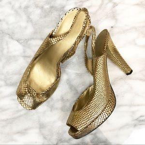 Nine West gold metallic peep toe heels size 9